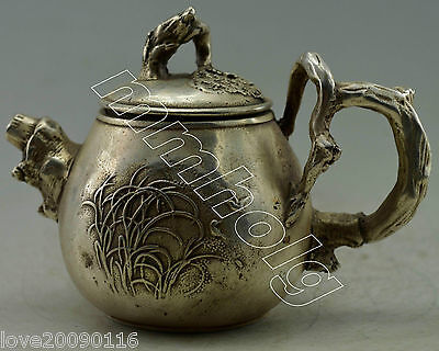Collectible Decor Old Handwork Silver Plate Copper Carved Grass Branch Tea Pot