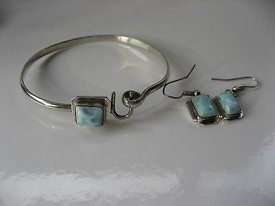 New Solid Sterling Silver 925 Genuine Dominician Larimar Bangle & Earring Set