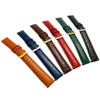 Coloured Padded Croc Grain Leather Watch Strap 16mm 18mm 20mm 6 Colours! D016