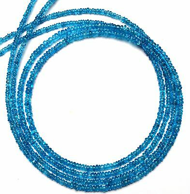 "Natural Gem Neon Blue Apatite 2-3MM Approx. Rondelle Beads 17"" Finished Necklace"