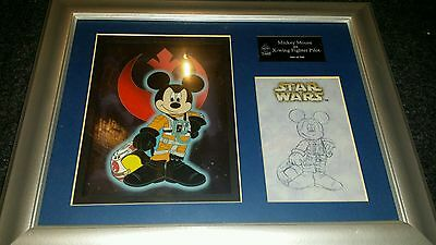 """DISNEY LASER CEL """"MICKEY MOUSE AS X-WING FIGHTER PILOT FRAMED LIMITED of 500"""