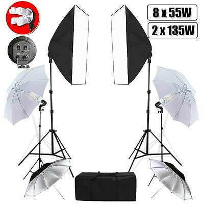 Photography ptoto Soft Box Umbrella Light Softbox Continous Lighting Stand Kit
