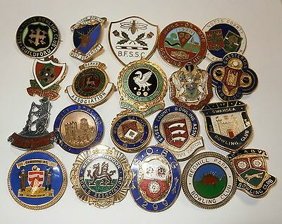 Collection of 20 UK Bowling Association Bowling Club Enamel Badges Bowls Lot 4