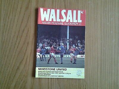 Walsall v Maidstone United PROGRAMME 1991
