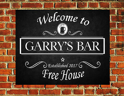 Personalised Pub Beer Bar Funny Metal Wall Sign Gift Present Landlord