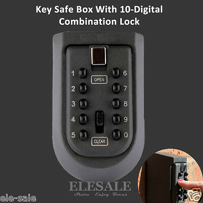 Wall Mounted Key Safe Storage Organizer Box With Combination Lock Home Outdoor