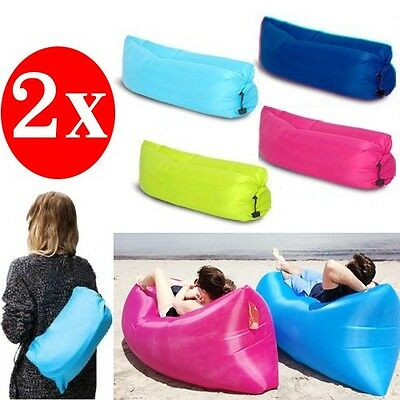2x Inflatable Air Bag Sofa Lounge Sleeping bag Camping Bed Outdoor Beach Hangout