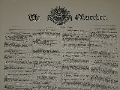THE OBSERVER: Sunday Advertiser Sunday, December 4th. 1791 VGC COPY