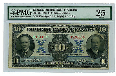 Canada … P-S1143 … 10 Dollars … 1923 … *VF*  PMG 25.