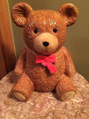 "Vintage otagari teddy brown bear red bow cookie jar canister 8.5"" tall"