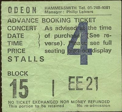 JUDAS PRIEST used TICKET HAMMERSMITH ODEON 16th December 1980s