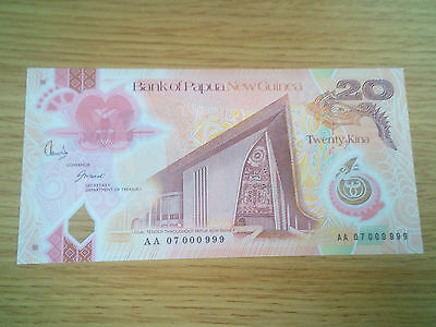 Papua New Guinea 20 Kina 2007 999 Fancy S/n Low Gem Uncirculated