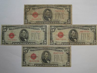 4 1928 Red Seal US $5.00 US Notes: 1928-C (2), 1928-E & 1928-F.  #1