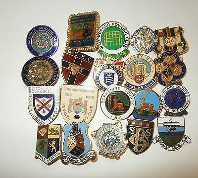 Collection of 20 UK Bowling Association Bowling Club Enamel Badges Bowls Lot 9