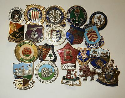 Collection of 20 UK Bowling Association Bowling Club Enamel Badges Bowls Lot 10