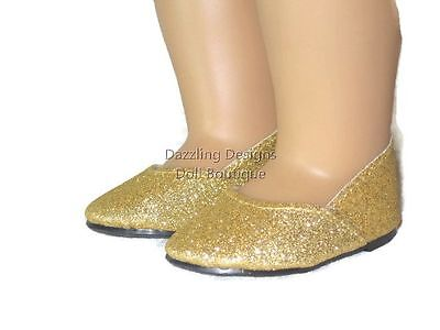 6e6fc1bff3aa GOLD SPARKLE PRINCESS Shoes Doll Clothes Made for 18