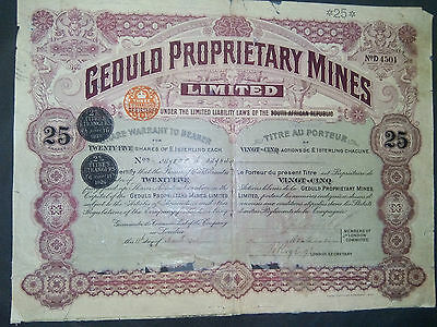 1 GEOULO - MINES South African 1903 , 25 Shares