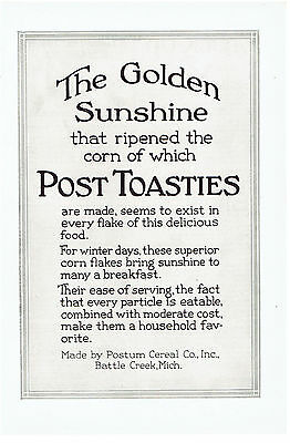 Vintage, Original, 1920 - Post Toasties Cereal Advertisement