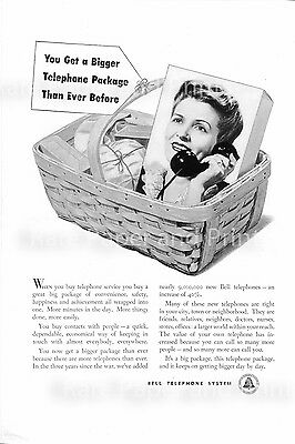 Telephone 1948 Bell Phone System Package Vintage Original Illustrated Print Ad