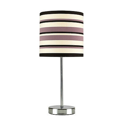 Modern Chrome & Striped Lampshade Touch Dimmer Bedside Table Lamp Light Lamps