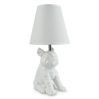 Modern Quirky White Ceramic French Bull Dog / Pug Table Lamp Lounge Lighting
