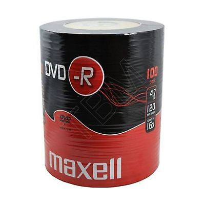 100 Maxell DVD-R 4.7GB (16x) 120Min DVDR In Shrink Wrap 4.7gb Gold for Back Up