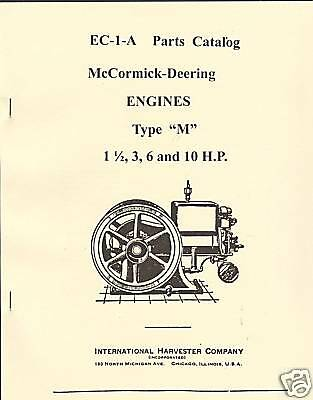 McCormick-Deering Type M Engines Parts Catalog IHC International Harvester