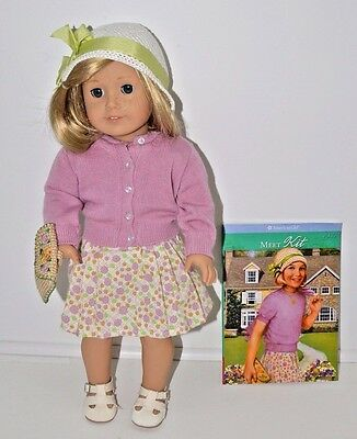 """American Girl Doll Kit Outfit Book Purse Necklace Hat Shoes Blonde Teeth 18"""""""