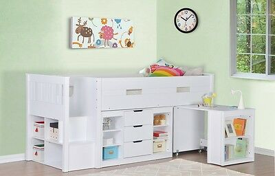Kids Cabin Bed Single Storage Bed Sleep Station Mid Sleeper Childrens Bed 3FT  sc 1 st  PicClick UK & KIDS CABIN BED Single Storage Bed Sleep Station Mid Sleeper ...