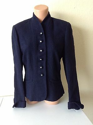 Vintage 50's BOTANY blue wool fitted rhinestone buttons blazer  jacket - B38""
