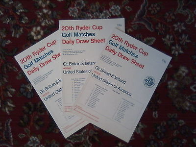 Ryder Cup draw sheet sets for 1969&1973 ex press reporter