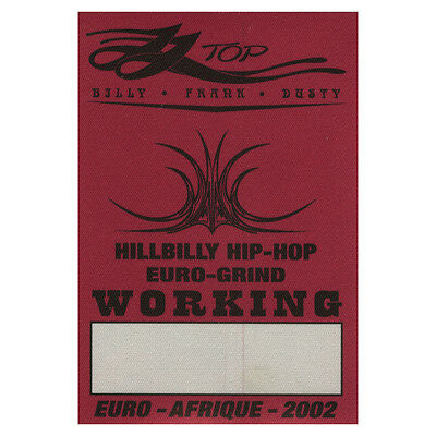 ZZ Top authentic Working 2002 tour Backstage Pass
