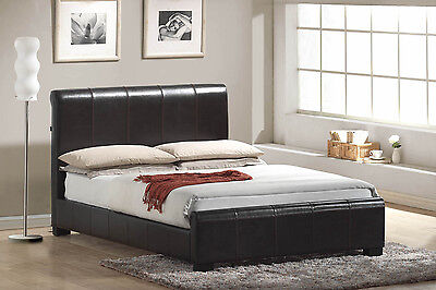 Chello Designer Real Leather Brown Double Bed - Brand New