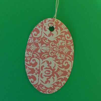 "100 3 1/2x2 1/4"" Pink Dasmask Oval print price tags with string"
