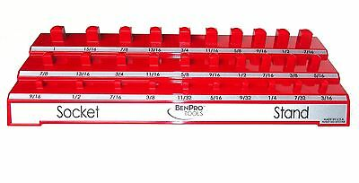 Socket Wrench Set Holder Garage Tool Organizer Stand Tray RED SAE Standard