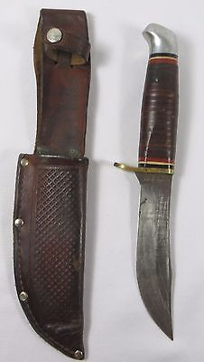 Vintage SCHRADE WALDEN U.S.A. # 147 LEATHER HANDLE HUNTING KNIFE 8 3/4""