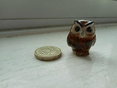 Owl - Pottery - Cute And Collectable  Miniature Round Plump Brown Owl