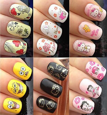 Nail Art Stickers Water Transfers Decals Hello Kitty Betty Boo Spongebob Bird