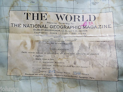 "Vintage 1932 National Geographic Map - The World - 26"" x 38"""