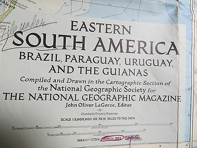 """Vintage 1955 National Geographic Map - Eastern South America - 29"""" x 40"""""""