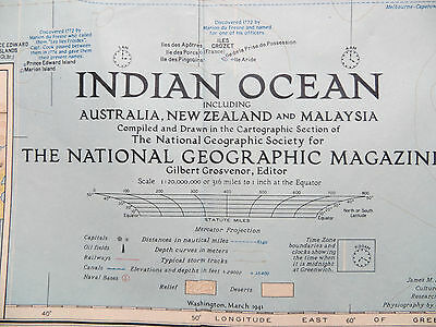 "Vintage 1941 National Geographic Map - Indian Ocean - 26"" x 33"""