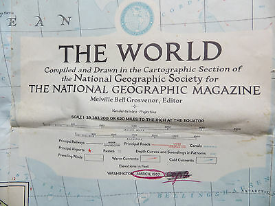 "Vintage 1957 National Geographic Map - The World - 29"" x 42"""