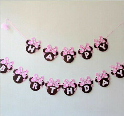 Mickey/Minnie Mouse Child Theme HAPPY BIRTHDAY LETTER Party Flag Banner Deco UK