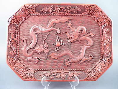 Fine Old Chinese Large Carved Cinnabar Dragons Tray Plate Carving Sculpture Art