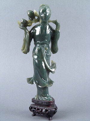 Fine Old Chinese Carved Spinach Jade Beauty Carving Sculpture Scholar Art