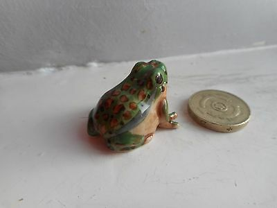 Frog - Beautiful - Detailed  Miniature  Pottery Light Green, Brown,yellow  Frog
