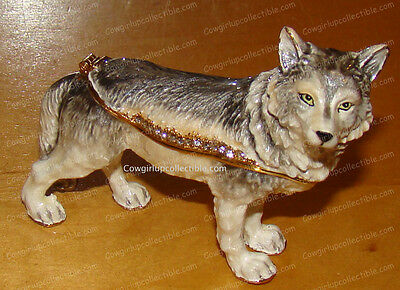 Bejeweled Baked Enamel WOLF Trinket Box (by Kubla Crafts, 3419)