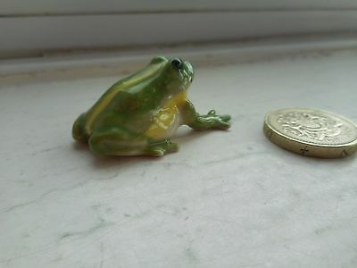 Frog - Beautiful - Detailed  Miniature  Pottery Light Green, And Yellow  Frog