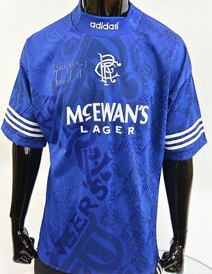 1994-96 adidas Glasgow Rangers FC Signed Brian Laudrup Home Shirt SIZE 42-44 (L)