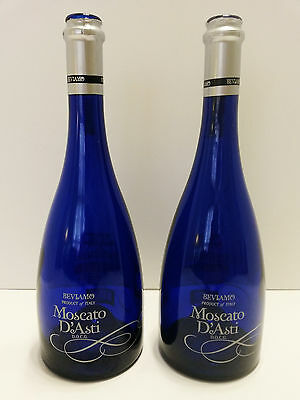 """2 Cobalt Blue Empty Wine Bottles Moscato d'Asti Product of Italy  Each 12"""" x 4"""""""